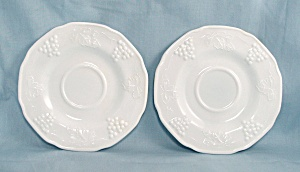 Two- Colony, Harvest Grape – Milk Glass Saucers, Indiana Glass (Image1)