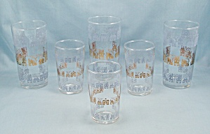 6 Tumblers -three Rows Houses, Blue & Gold - Federal - 2 Sizes