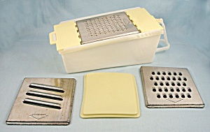 1952 Shred-aid - Vintage Yellow Vegetable Grater - 3 Blades, Bin