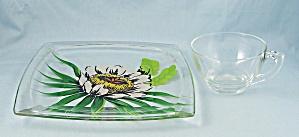 Gayfadstudio Painted Hawaiian Floral Design, Square Plate, Cup & Saucer,Hazel Atlas  (Image1)