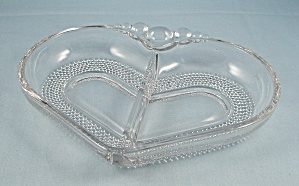 Duncan Miller – Teardrop – Two Part Relish, Heart Shaped, Divided Dish	 (Image1)