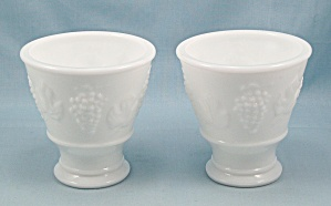 Two, Keen, White Milk Glass Custard Cups, Harvest Grape