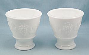 Two Keen White Milk Glass Custard Cups Harvest Grape