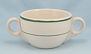 Cream Soup Bowl - Double Handled, Green Lines, Sterling China