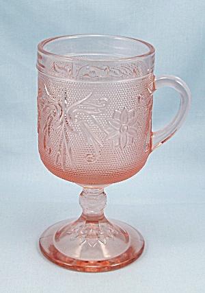 TIARA- Pink / Peach - Sandwich Glass - Footed Mug  (Image1)