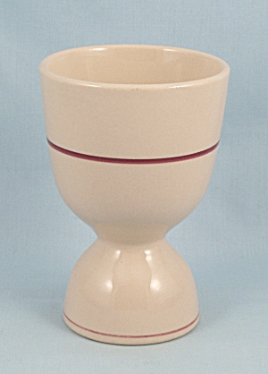 Double Egg Cup - Tan, Maroon Stripes