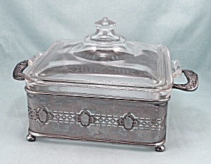 Square Pyrex, Lid, Cradle - Circa 1924/ Old $ Mark