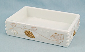 Westmoreland – Paneled Grape Cigarette Box, No Lid, Gold Decorations    	 (Image1)