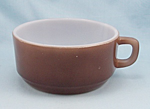 "Fire King –  ""D"" Handle Soup Bowl – Brown	 (Image1)"