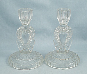 Crystal Candlestick Pair - Hearts
