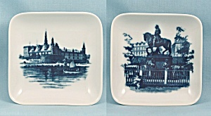 Two Royal Copenhagen, Denmark – Square Dishes, Equestrian & Castle (Image1)