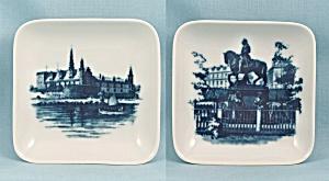 Two Royal Copenhagen, Denmark – Square Dishes, Equestrian & Castle (Image1)