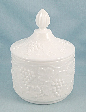 Imperial Glass - Candy Box, Vintage Grape, Round Milk Glass