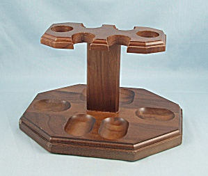 Wood Pipe Stand - Six Slots