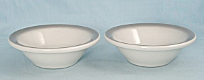 Two Shenango China Bowls - Gray Airbrushed Rims