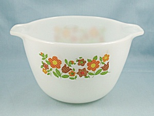 Fire King - Cinderella Mixing Bowl - Needle Point Flowers