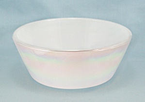Federal Glass, White Iridescent Bowl, Mother Of Pearl