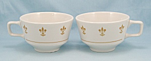 Two Homer Laughlin, Gold Fleur De Lis, Cups
