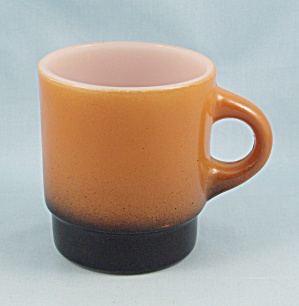 Fire King Mug, C-handle, Orange & Black
