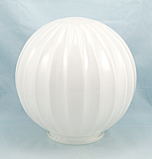 White Glass, Softly Ribbed Globe/ Gwtw