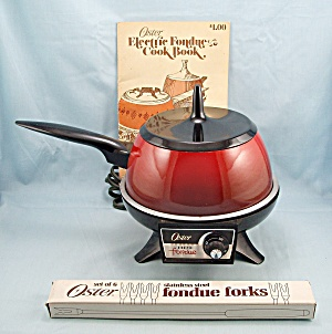 1973 Oster Electric Fondue Set, Complete With Book