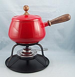 Mid Century Modern - Red Enameled Fondue Pot - Styson (Image1)