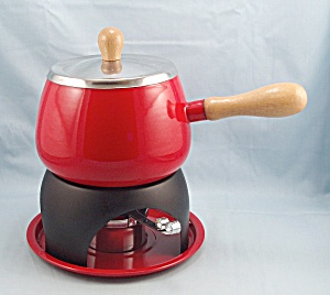 Red Enameled Fondue Pot, Mid Century