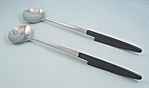 Epic – Salad Servers, Black Handles, Mid Century (Image1)
