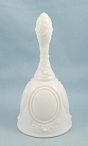 Fenton - White Glass Bell – Medallion, Roses (Image1)