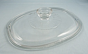 Pyrex F 12 C, Glass Lid - Crystal / Oval / Center Ribbed Pattern