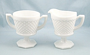 Westmoreland English Hobnail Cream Pitcher & Sugar, Octagon Base