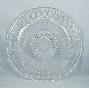 Cake Plate, Sunburst/ Sunflower Center, Bubbles, Scalloped Rim By Federal Glass