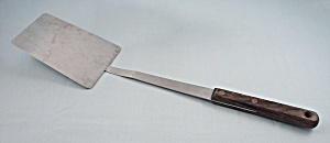 Mel-jax, Solid Turner/spatula, Long Brown Wood Handle #2