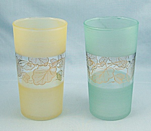 2 Pastel Frosted Tumblers, Center Band Gold Leaves