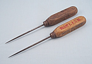 Two Wood Handle, Vintage Ice Picks - One Advertising / Wilson E & C Co.