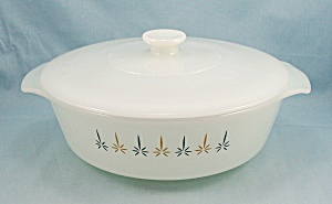 437 Fire King - Candle Glow - 1.5 Qt. - Covered Dish