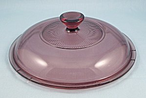 Pyrex V 1.5 C, Corning Visions, Cranberry Glass Lid - 6 3/4 Inches