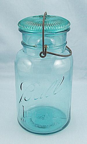 Ball – Ideal – Dated 1908, Aqua, Quart Canning Jar, Wire Bail, Ribbed Aqua Lid (Image1)