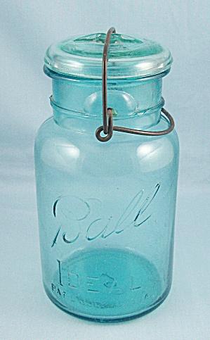 Ball – Ideal – Dated 1908, Aqua, Quart Canning Jar, Wire Bail, Aqua Lid (Image1)