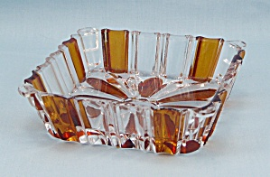 Square Dish, Amber Flashed & Clear
