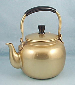Gold/ Aluminum Tea Pot, Black Handle