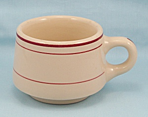 Wellsville China - 1953 Tan Cup/mug, Maroon Lines
