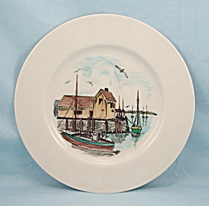 Rockport Mass - Fishing Scene - Hand Painted Plate By Buzz Kent