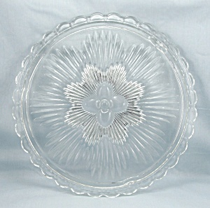 Indiana Glass Clear Cake Plate, Floral (Image1)