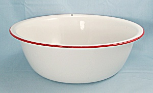 Enamelware - White Wash Basin/ Wash Tub, Red Trim