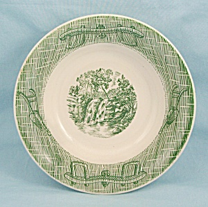 Royal China - Green Tools, Rim Soup Bowl - Ox Yoke Border