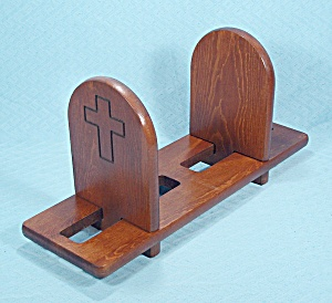 Sliding Wood Bookends – Carved Cross Design, Three Pieces, Vintage (Image1)