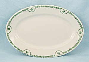 Jackson China Small Oval Plate, Green Nouveau Pattern, Jackson Pattern #129
