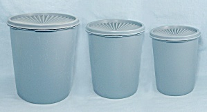 Three Country Blue Tupperware Canisters, Servalier Lids