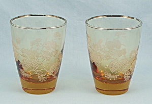 "2 Libbey - ""golden Pine Cone"" Tumblers"